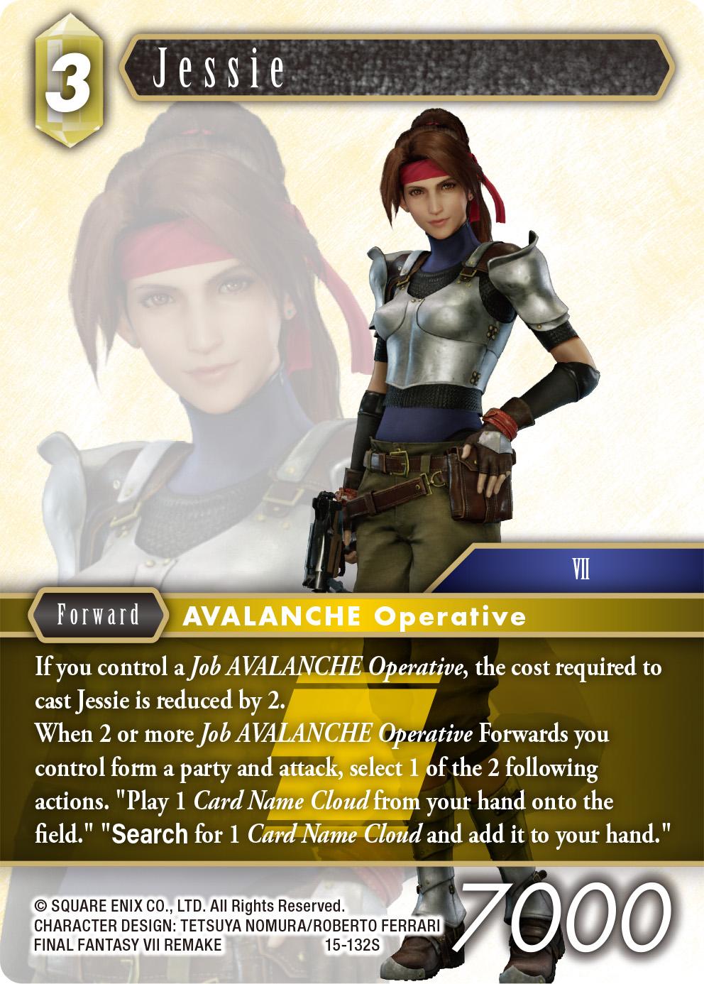 Jessie card from Avalanche vs Shinra Starter Set