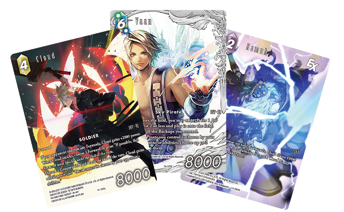 A selection of 3 cards from Opus XIV, featuring Cloud, Vaan and Ramuh
