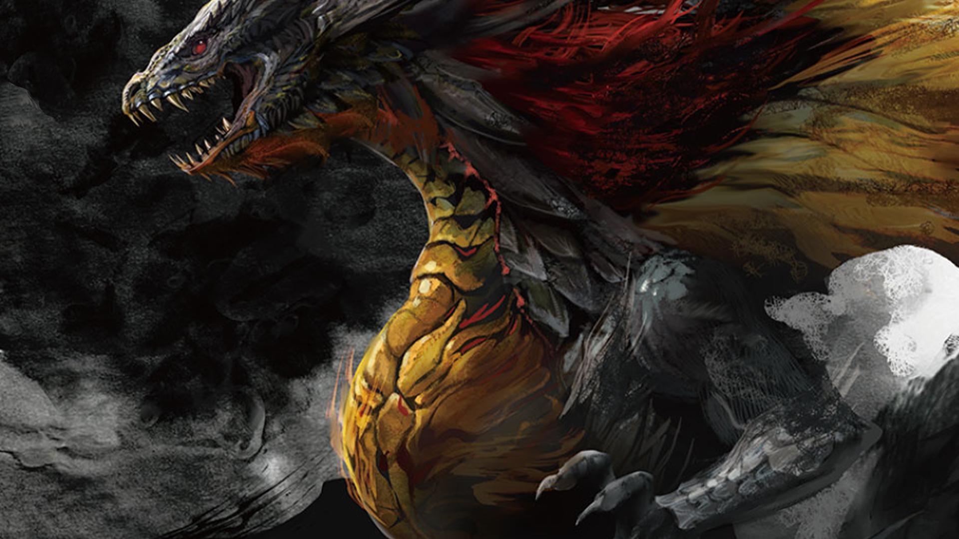 An FFTCG Original Art of the dragon Shinryu by Toshitaka Matsuda