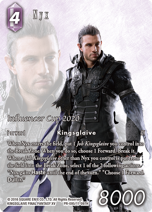 Nyx standing in front of his own image with a purple background